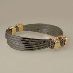 Bracelets 98480: Black Sterling And Gold Filled 4 Knot 6 Strand Elephant Hair Style Safari Bracelet BUY IT NOW ONLY: $155.0