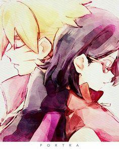 Boruto Uzumaki and Sarada Uchiha - Anime Naruto, Manga Anime, Naruto Sasuke Sakura, Sakura Haruno, Itachi, Naruto Shippuden, Sarada E Boruto, Narusaku, Naruto Family