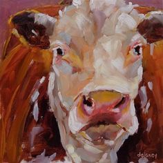 "Daily+Paintworks+-+""Cow+116+SOLID+AS+A+ROCK""+-+Original+Fine+Art+for+Sale+-+©+Jean+Delaney"