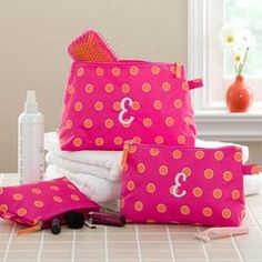 Personalized Cosmetic Case Set - Pink