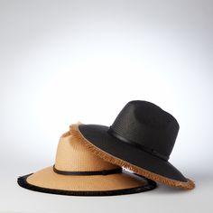 Helene Berman black and tan straw summer hats