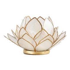 White Lotus Capiz Tealight Candleholder - Capiz Shell by World Market Lotus Candle Holder, Gold Candle Holders, Gold Candles, Tea Light Candles, Tea Lights, Interior Design Help, White Lotus, Gold Line, Affordable Home Decor