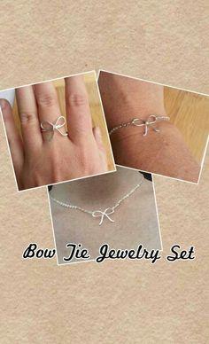 Bow Tie Jewelry set.  www.deannewatsonjewelry.etsy.com