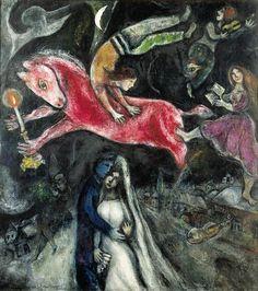 Marc Chagall (1887 - 1985)  Le cheval rouge 1938 - 1944 Huile sur toile de lin 114 x 103 cm. Centre Pompidou.