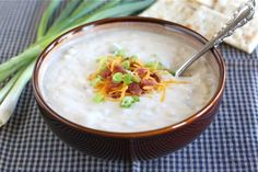 baked potato soup recipe on twopeasandtheirpod.com Love this easy and comforting soup! #soup
