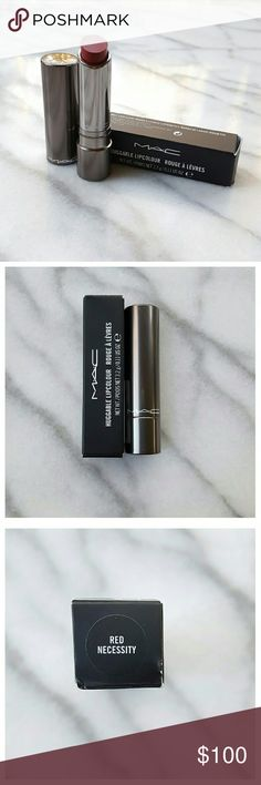 MAC Huggable Lip Color- Red Necessity Semi-sheer high shine gel lip color in Red Necessity, medium warm red. Lightweight, lasts up to six hours. Discontinued color. MAC Cosmetics Makeup Lipstick