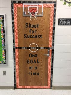Hang hoop over recycling for students to throw away paper at a responsible time Sports Theme Classroom, High School Classroom, Classroom Bulletin Boards, Classroom Projects, Classroom Door, Classroom Setup, Classroom Design, Science Classroom, Elementary Physical Education