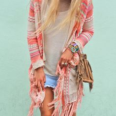 Boho Jacket... Love the colors together...