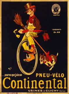 If only I had a Continental bicycle tire, advertising poster by Michel Liebeaux, ca. 1900