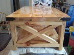 Natural Look of Rustic X Coffee Table | Do It Yourself Home Projects from Ana White