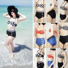 Cutest Retro Vintage Rockabilly Pin Up High Waist Bikini Set Swimsuit Swimwear   eBay