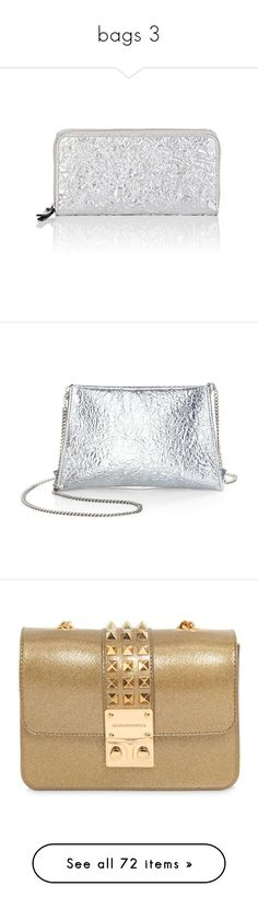 """""""bags 3"""" by estamoor ❤ liked on Polyvore featuring bags, wallets, silver, stitch wallet, leather bags, leather zip around wallet, maison margiela, zip-around wallets, handbags and clutches"""