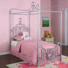 Powell 374-106 Princess Rebecca Canopy Headboard, Footboard And, Silver