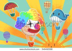 Illustration: Funny Hot Air Balloons is Flying in the Sunlight. Clown, Whale, Watermelon etc. Realistic Fantastic Cartoon Style Artwork / Story / Scene / Wallpaper / Background / Card Design. - stock photo