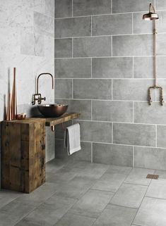 For the past year the bathroom design ideas were dominated by All-white bathroom, black and white retro tiles and seamless shower room Grey Wall Tiles, Grey Bathroom Tiles, Concrete Bathroom, Kitchen Wall Tiles, Bathroom Tile Designs, Small Bathroom, Bathroom Black, Bathroom Ideas, White Bathrooms