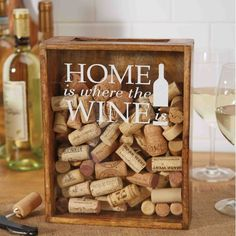 The Wine Cork Collector Box by Mud Pie is a wood and glass cork catcher box for wine corks with an easy drop slot on top to showcase a wine enthusiast's cork collection. The Wine Cork Collector Box re