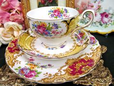 Tuscan tea cup and saucer mixed pattern teacup PROVENCE plate pattern floral