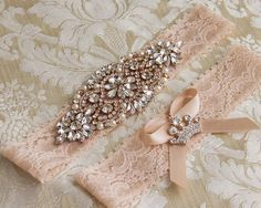 Blush Lace Bridal Garter Set Lace Wedding Garter by GarterQueen