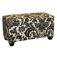 Wood-framed storage bench with damask-inspired cotton upholstery. Handmade in the USA.  Product: Storage benchConstr...