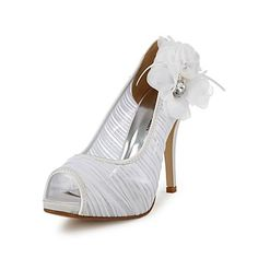 Elegant Satin Stiletto Heel Pumps with Rhinestone and Flower Wedding Shoes(More Colors) – EUR € 28.87