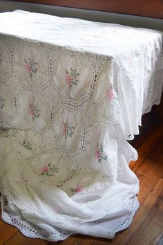Vintage Floral Crochet Tablecloth