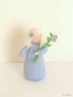 Waldorf Spring Flower Child - White Hair - Root Children - Handmade Needle Felted Wool Doll Figurine - Spring Decoration LaLutine