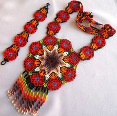 Mexican Huichol Beaded Peyote and Star Necklace and by Aramara