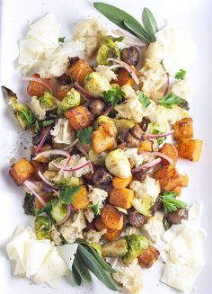 Roasted Winter Panzanella by bijouxs: Roasted holiday vegetables meet with buttery soft croutons, infused in a Sherry vinaigrette and garnished with curls of soft fontina cheese, making a graditional side dressing alternative. #Salad #Panzanella #Healthy