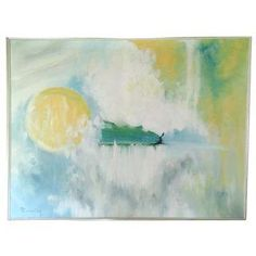 """Tranquility"" by R Sontag Mid-Century Oil Painting"