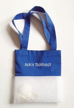 Made of 100 percent cotton fabric for the top of the bag and the lower part made of a mesh fabric that allows the sand to sift through.Perfect for beachcombing youngsters to carry their treasures, wash the shells and leave the sand behind. Can be personalized via special request. Available in Pink, Orange, Blue or Yellow. Made in the U.S.A. Size: 9