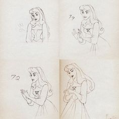 Briar Rose animation drawings by Marc Davis. Megan Hess, Disney Sketches, Disney Drawings, Dreamworks, Studio Ghibli, Marc Davis, Estilo Disney, Animation Sketches, Pixar Characters