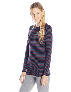 Cuddl Duds Womens Softwear with Stretch Crew Neck Top BlackStrip Medium >>> Check out this great product.