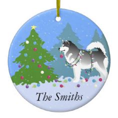 Alaskan Malamute Decorating Christmas Tree Double-Sided Ceramic Round Christmas Ornament ❤  Find more Breed Collection here…. ❤ BreedCollection.com ❤ TriPodDog.Etsy.com ❤ TriPodDogDesign.RedBubble.com ❤ http://www.zazzle.com/breed_collection