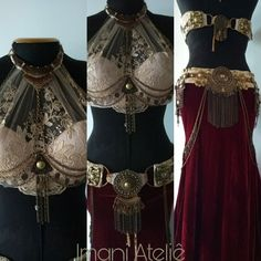 Lovely ivory and red tribal fusion set