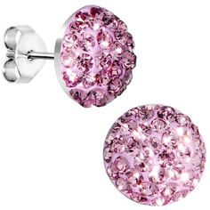 8mm Rose Crystal Stud Earrings Created with Swarovski Crystals | Body Candy Body Jewelry