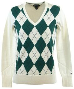 Tommy Hilfiger Womens Argyle Pima Cotton Sweater