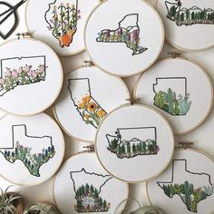 #embroidery #states Embroidery Map, Hand Embroidery Stitches, Hand Embroidery Designs, Cross Stitch Embroidery, Cross Stitch Patterns, Embroidery Ideas, Beginner Embroidery, Knitting Stitches, Hand Stitching