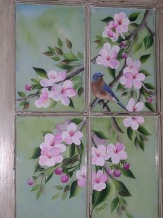 Cherry Blossom is at the corner on window Old Windows Painted, Painted Window Panes, Painting On Glass Windows, Glass Painting Designs, Vintage Windows, Antique Windows, Painting On Screens, Window Paint, Old Window Art
