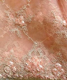 Shabby Chic Peach Colored Lace with Delicate Flowers Silk Ribbon Embroidery, Lace Ribbon, Lace Fabric, Sequin Embroidery, Embroidered Lace, Antique Lace, Vintage Lace, Shades Of Peach, Fru Fru