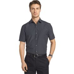 Big & Tall Van Heusen Air Wovens Classic-Fit Poplin Performance Button-Down Shirt, Men's, Size: L Tall, Black