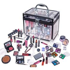 Stock up on beauty products that you'll be able to use on the go with this portable makeup trunk. An array of eye shadows, lip glosses, and other quality products will allow you to touch up your appearance. The case features a handle for easy travel.