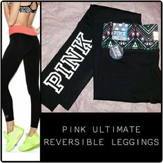 PINK REVERSIBLE LEGGINGS- FREE PINK STICKER! NWT. PRODUCT DETAILS IN PICTURE. Reversed is Marled Grey band and solid black legs - 1st picture shows modeled pants... print for sale is on right side, 2nd & 3rd picture PINK Victoria's Secret Pants