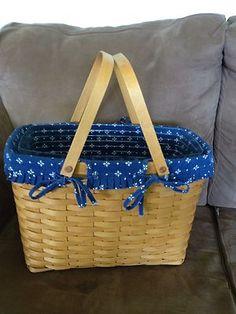 Longaberger 2001 Magazine Basket Combo Classic Traditional Blue Liner w Pockets | eBay