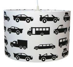 Hanglamp Auto's zwart-wit Een stoere auto hanglamp in zwart-wit. Deze lamp is erg leuk in een jongens baby- of kinderkamer. Leuk om te combineren met de bijpassende monochrome wandlamp auto's. De auto lamp is verkrijgbaar in drie maten. jongenskamer kinderkamer babykamer jongenslamp kinderlamp