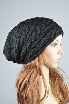 Hand knit hat - Black cable pattern slouchy hat