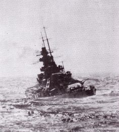 Battleship Scharnhorst wallowing in a North Atlantic swell during her successful commerce raiding cruise with sister Gneisenau, February 1941.  They were always 'wet' ships.