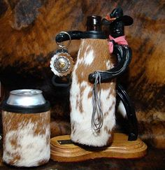 Cowhide Koozie - Set of 2  Cowhide Leather Beer Bottle and by MontanaRedSkyDesigns, $37.95