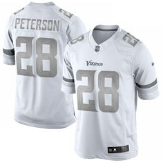 Nike Adrian Peterson Minnesota Vikings White Platinum Limited Jersey