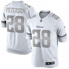 Nike Adrian Peterson Minnesota Vikings White Platinum Limited Jersey #vikings #nfl #minnesota