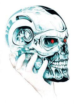 Illustration by Joaquín Secall #Terminator #Skulls